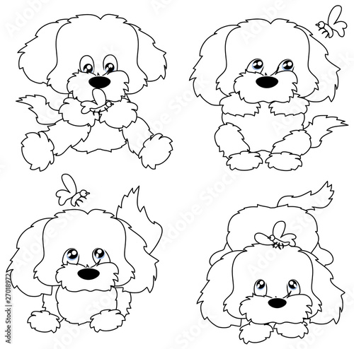 Zoom Not Available : Vector images are scalable to any size. Four puppies with butterflies in the contour.