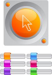 Pixel arrow color round button.