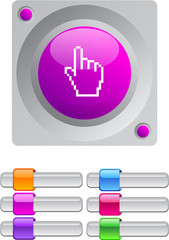 Pixel hand color round button.