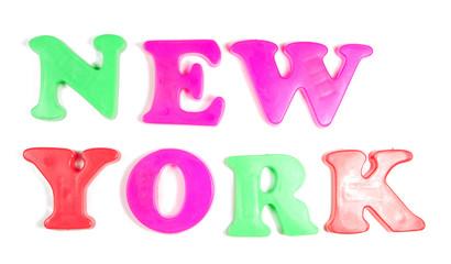new york written in fridge magnets