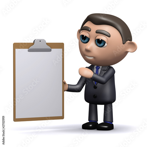 3d Businessman draws attention to the clipboard