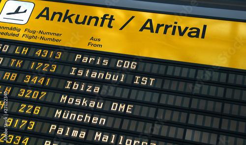 Foto Spatwand Luchthaven Arrival Board