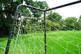 closeup of soccer goal and net