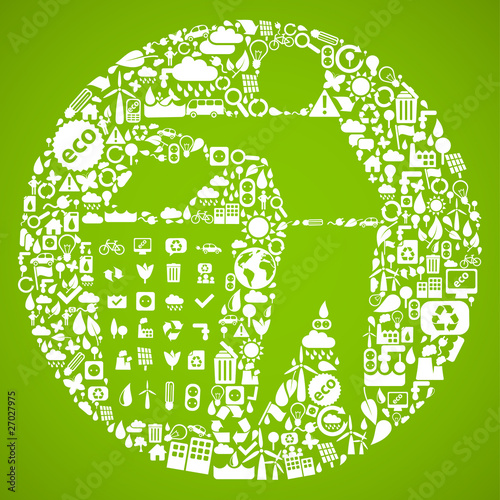 trash symbol made from little ecology icons