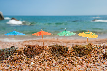 Colorful parasols for shade at the beach