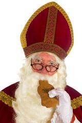 Sinterklaas is eating speculaas