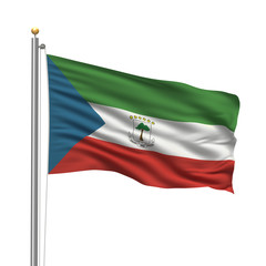 Flag of Equatorial Guinea waving in the wind over white