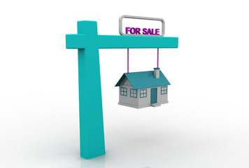 Home For Sale Sign in Front of Beautiful New 3D Home