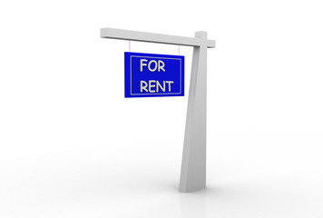 For Rent Real Estate Sign Isolated