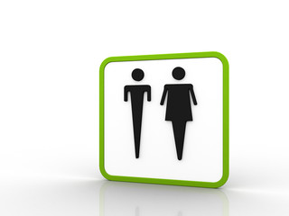 3d Restroom sign