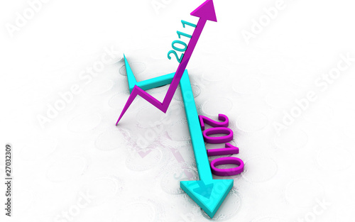 Digital illustration of increasing and decreasing arrow in 3d