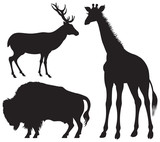 Bison, Deer, Giraffe, animals silhouettes