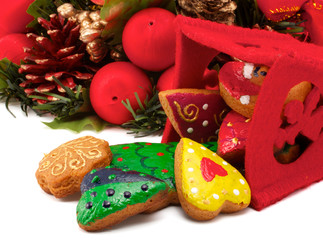 Christmas cookies and Christmas wreath