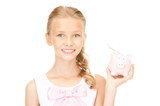 lovely teenage girl with piggy bank and money - Fine Art prints