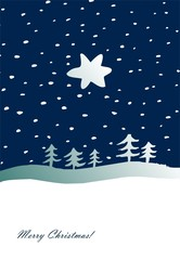 Christmas star, trees and snow- greeting card