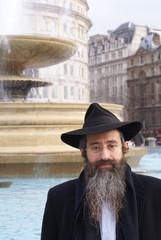 A Jewish man on Trafalgar Square, London.