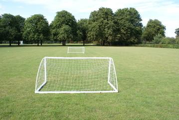 Mini football goal in Jesus College Cambridge University.