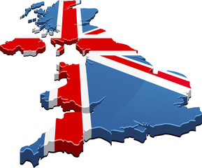 Map of the UK flag 3D