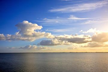 Beautiful cloudscape above the IJsselmeer in the Netherlands