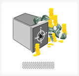 Safe with money and coins A
