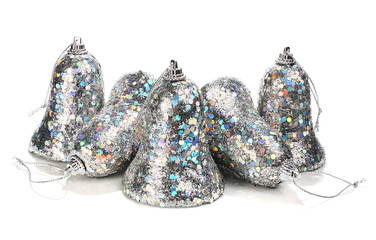silver handbell decoration for a christmas new-year