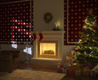 cozy xmas fireplace with tree and presents