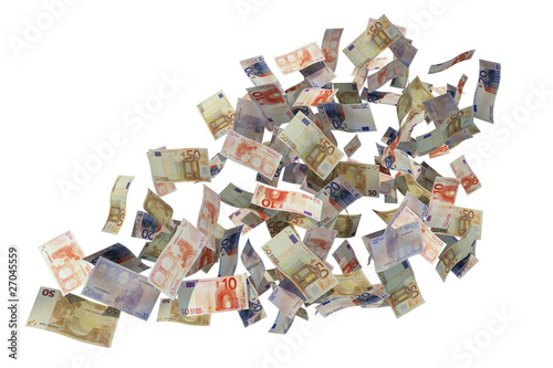 euro bills flying over white