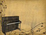 piano on old background