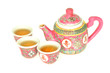 Chinese Tea Set With Cups Filled Up With Tea