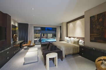 Lit bedroom of luxury California home