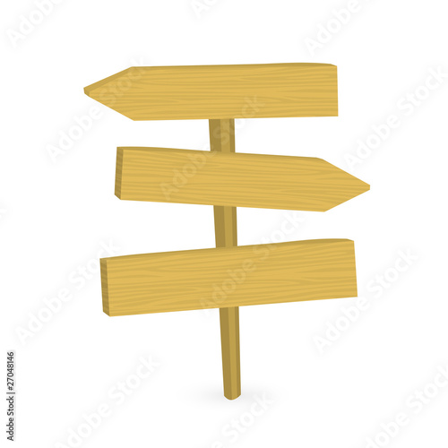 Vector illustration of wooden route sign