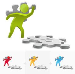 3D stick figure illustration putting together a puzzle pieces