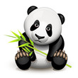 Little panda and bamboo
