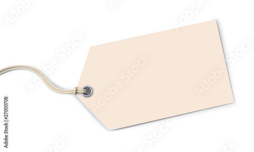 Off-white tag on white background