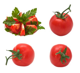 Fresh, ripe tomatoes, isolated on a white background.