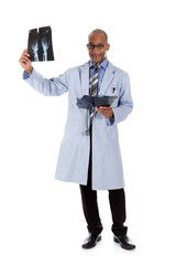 Young successful African American man doctor, xrays