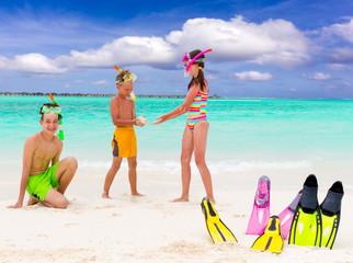Happy children on beach