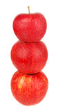 three red apples pyramidal.