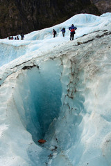 Ice Climbing past Crevasse