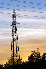 High Voltage Pole at Sunset