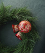 painted ornaments on a wreath