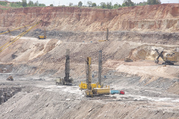 Drilling machines in a open cast mine