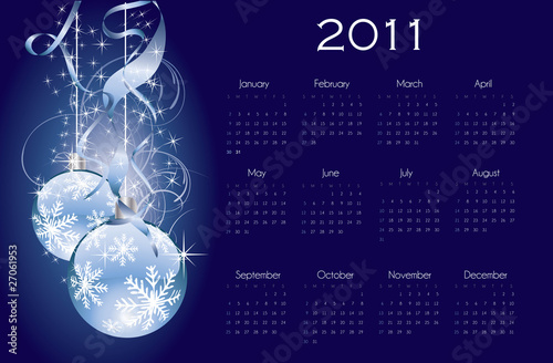 2011 calendar with christmas background