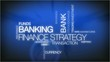 Bank finance tag cloud text animation blue background