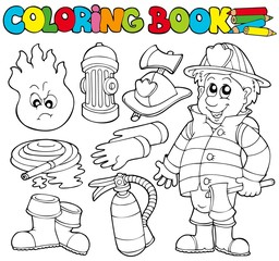 Coloring book firefighter collection