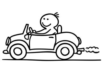 figur fährt auto