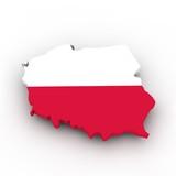 Fototapety Polen Flagge auf Landkarte