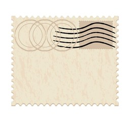 vector illustration of a blank grunge post stamp on white