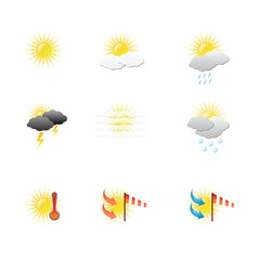 weather icons vector on blank