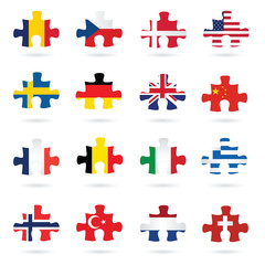 world flags as jigsaw puzzle piece